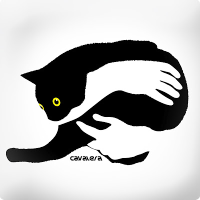 cat bw art in arms