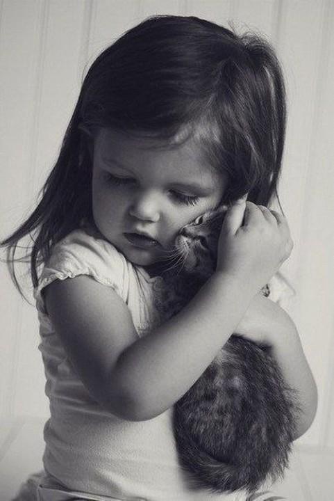 cat cuddle girl