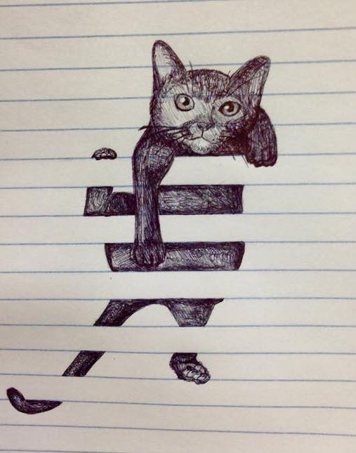 kitty in blinds sketch