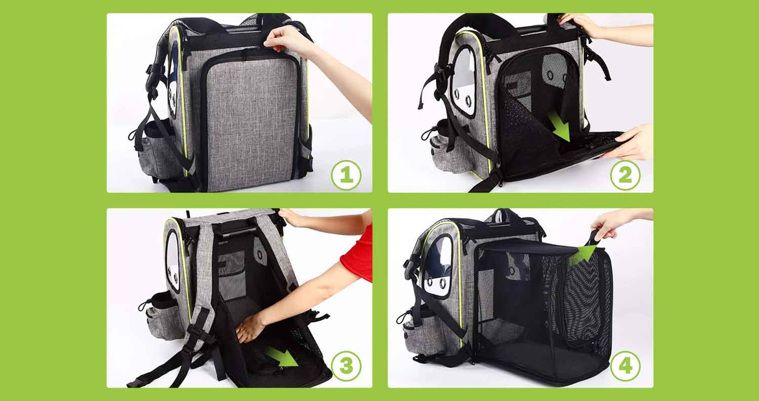 image showing how the pecute cat carrier backpack unfolds