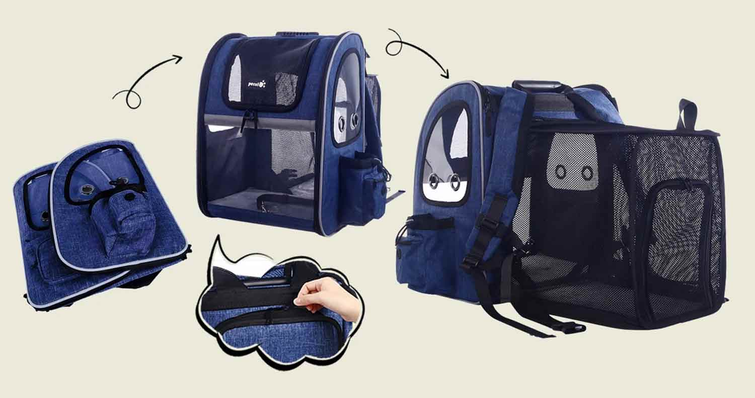 an image showing how the pecute cat carrier backpack works